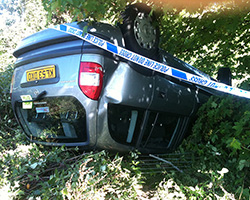 Car accident in need of vehicle recovery